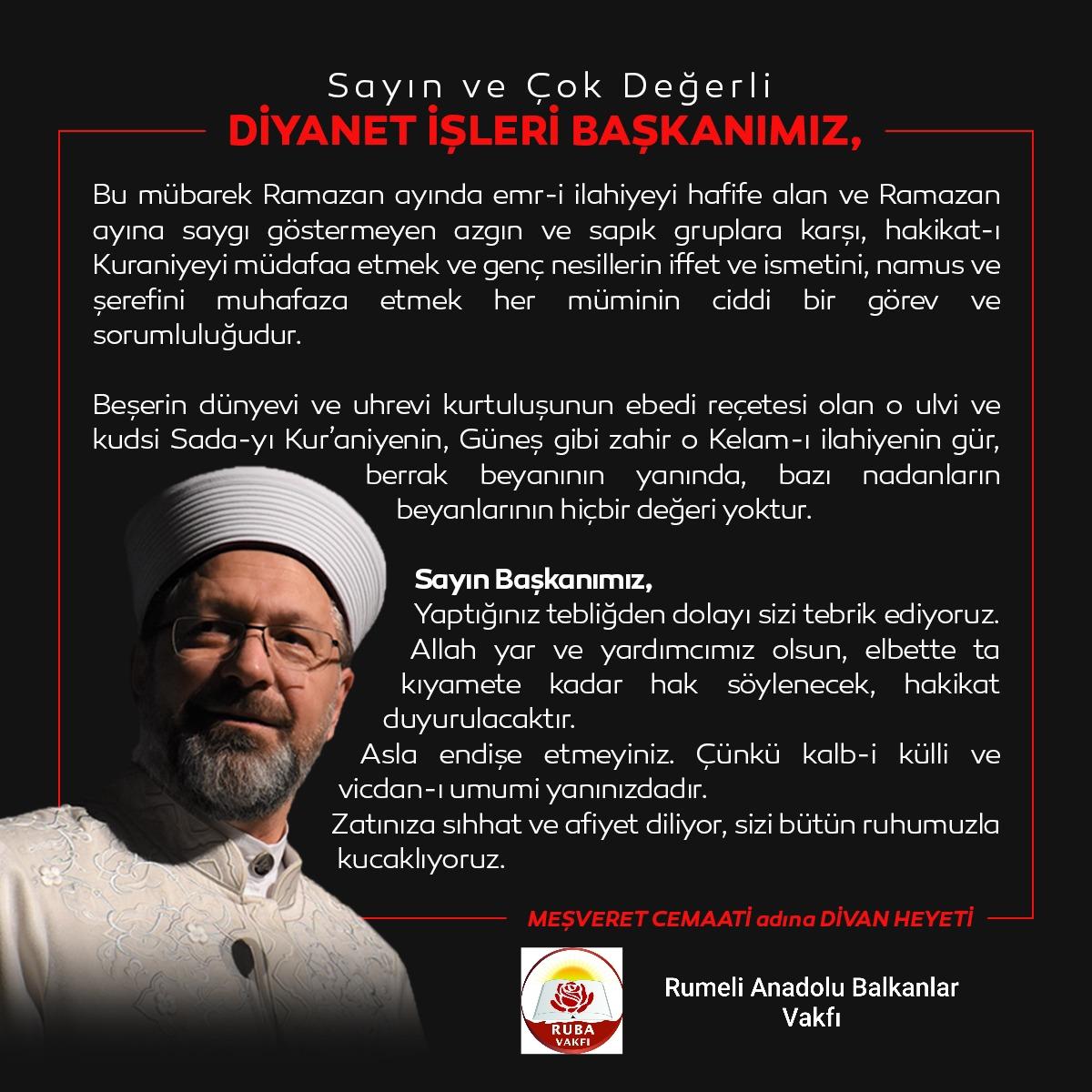 Diyanet işleri Başkanı Ali Erbaş'ın yanındayız